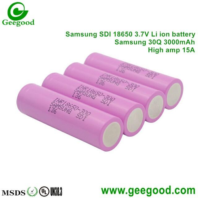 Samsung 30Q 3000mAh 18650 battery Samsung SDI high amp vape battery