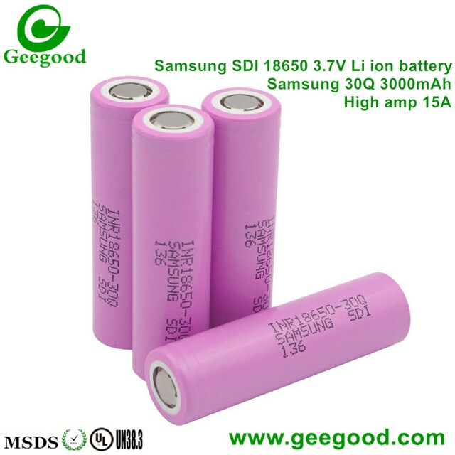 Samsung 30Q 3000mAh 15A 3 7V 18650 battery for vape / power tools