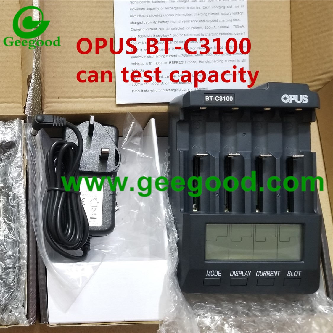 Test battery capacity charger OPUS BT-C3100 4 slot battery charger